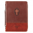 Brown Faux Leather Classic Bible Cover - John 3:16 (Large)