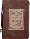 Brown Faux Leather Classic Bible Cover | A Mans Heart - Proverbs 16:9 | Large Book Cover for Men
