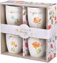 Ceramic Mug Set: Faithful, Grateful, Joyful, Thankful (Set Of 4)