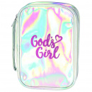 God's Girl Bible Cover: Silver and Pink (Large)