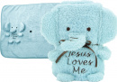 Jesus Loves Me Elephant Blankie: Blue