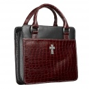 Croc Embossed Purse Bible Cover, Burgundy, Large