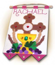 1st Communion Banner: Cross (Pink)