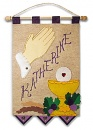 First Communion Banner Kit  9 in. x 12 in.  Praying Hands (Royal Purple accents)