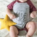 Fearfully & Wonderfully Made | Heather/Burgundy Infant Baseball Onesie (6M)