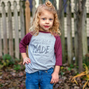 Fearfully & Wonderfully Made | Heather/Burgundy Toddler Baseball Tee (3T)