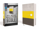 NIV Boys' Backpack Bible (Compact, Leathersoft, Yellow/Gray, Red Letter Edition, Comfort Print)