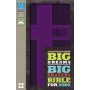 NIV Big Dreams, Big Prayers Bible for Kids--soft leather-look, purple with cross