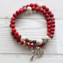 Red Confirmation Stretch & Wrap Rosary Bracelet (Medium)