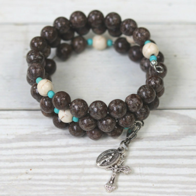 Our Lady of Good Counsel Rosary Bracelet (Brown Snowflake Jasper)