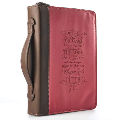 Pink I Know The Plans Bible Cover (Medium)