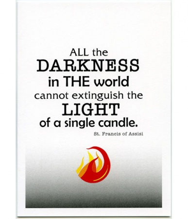 Light of a Single Candle, St. Francis of Assisi, Encouragement Card