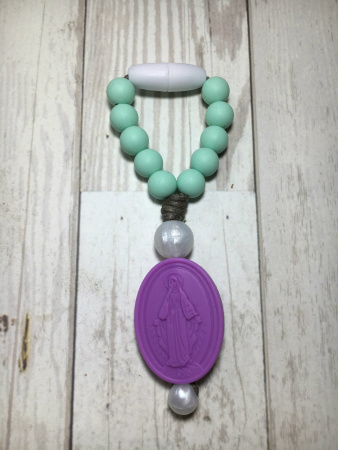 Mint and Purple Miraculous Medal Mini Decade