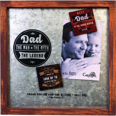"""Dad The Legend"" Metal Photo with Magnets"
