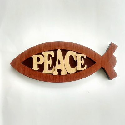 Peace Fish Shaped Wood Plaque