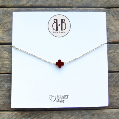 Dark Brown Stone Cross Necklace