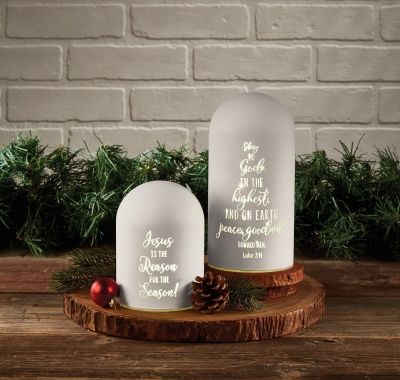 "Christmas Heartlights ""Jesus Is the Reason"" Lighted Dome Jar"