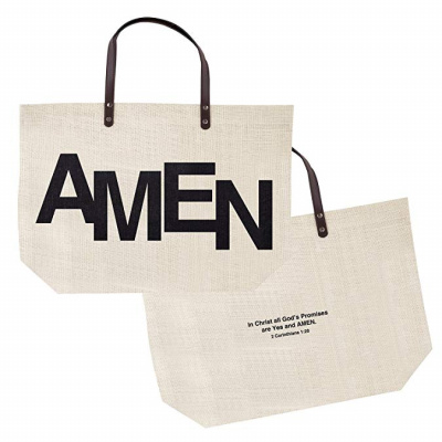 Amen Jute Tote Bag (Burlap)